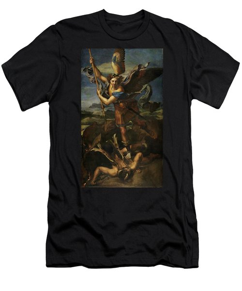Saint Michael Defeats Satan Men's T-Shirt (Athletic Fit)