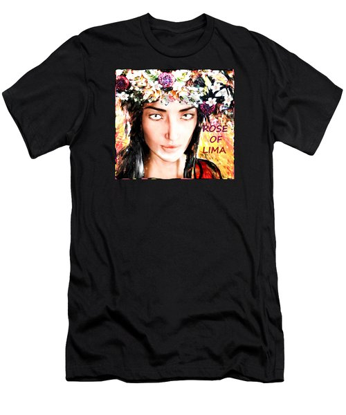 Men's T-Shirt (Slim Fit) featuring the painting Saint Rose by Suzanne Silvir