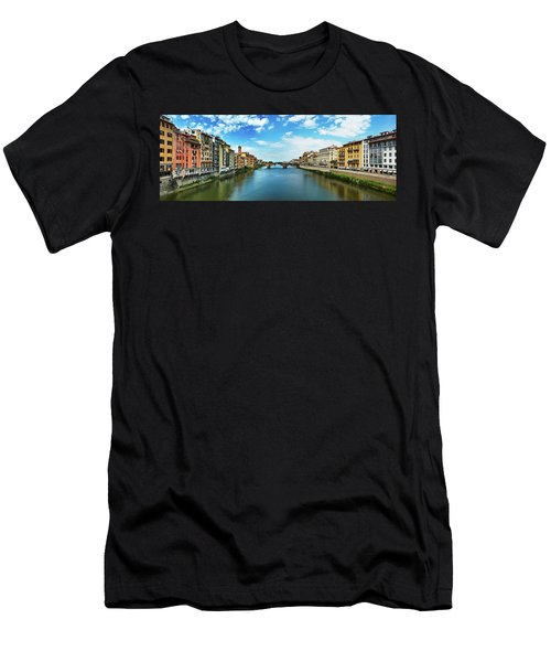 Panoramic View Of Saint Trinity Bridge From Ponte Vecchio In Florence, Italy Men's T-Shirt (Athletic Fit)