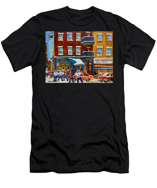 Saint Viateur Bagel With Hockey Men's T-Shirt (Athletic Fit)