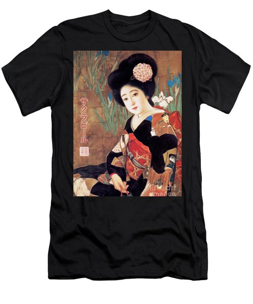 Men's T-Shirt (Slim Fit) featuring the painting Sakura Beer Poster  by Pg Reproductions