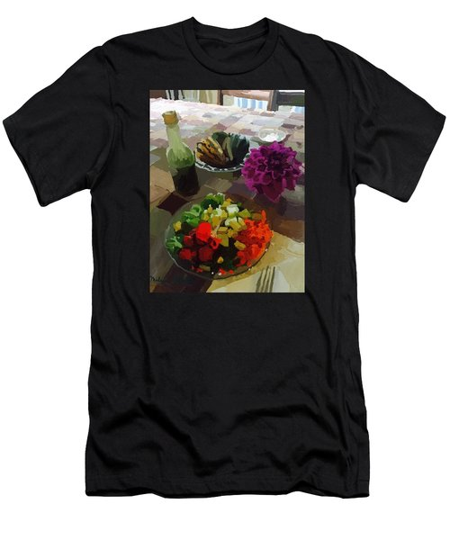 Salad And Dressing With Squash And Dahlia Men's T-Shirt (Slim Fit) by Melissa Abbott