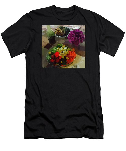 Salad And Dressing With Squash And Purple Dahlia Men's T-Shirt (Athletic Fit)