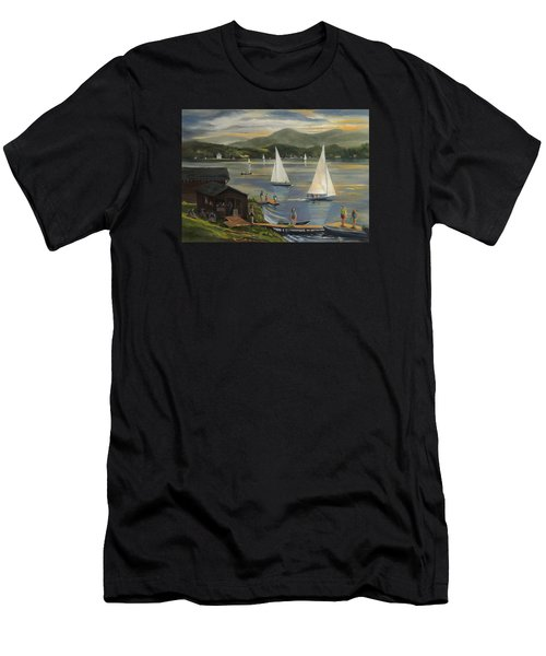 Sailing At Lake Morey Vermont Men's T-Shirt (Athletic Fit)