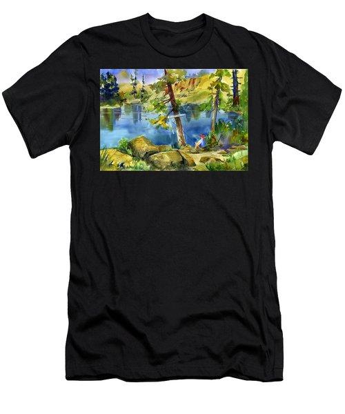 Salmon Lake Fisherman Men's T-Shirt (Athletic Fit)