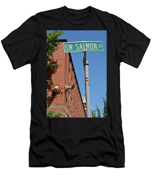 Salmon Through A Building Men's T-Shirt (Athletic Fit)