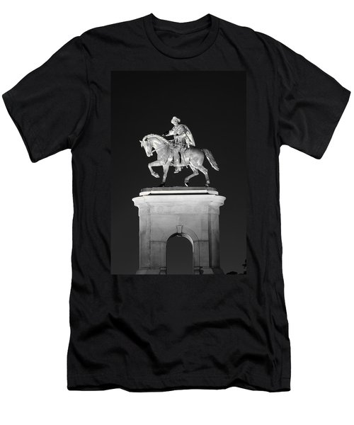 Sam Houston - Black And White Men's T-Shirt (Slim Fit) by David Morefield