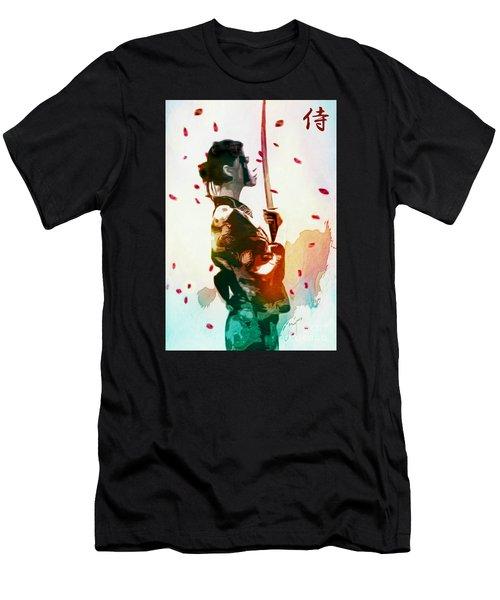 Samurai Girl - Watercolor Painting Men's T-Shirt (Athletic Fit)
