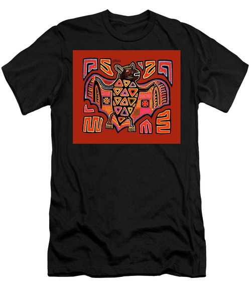 Men's T-Shirt (Athletic Fit) featuring the digital art San Blas Kuna Indian Bat by Vagabond Folk Art - Virginia Vivier