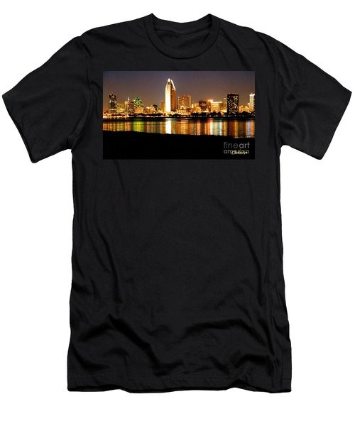 San Diego Skyline With Reflections On Mission Bay Men's T-Shirt (Athletic Fit)