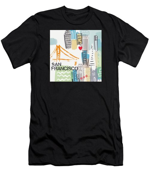 San Francisco Cityscape- Art By Linda Woods Men's T-Shirt (Athletic Fit)