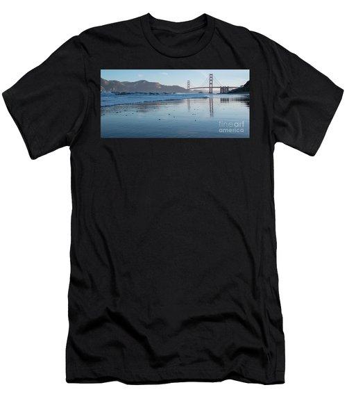 San Francisco Golden Gate Bridge Reflected On Baker's Beach Wet  Men's T-Shirt (Athletic Fit)
