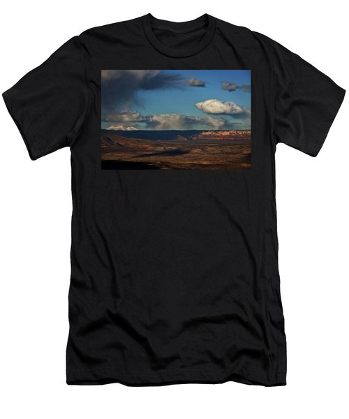 Men's T-Shirt (Slim Fit) featuring the photograph San Francisco Peaks With Snow And Clouds by Ron Chilston