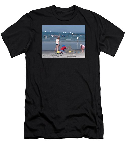Sand Castle And Sailboats At Wingaersheek Beach Men's T-Shirt (Athletic Fit)