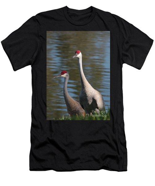 Sandhill Crane Couple By The Pond Men's T-Shirt (Athletic Fit)