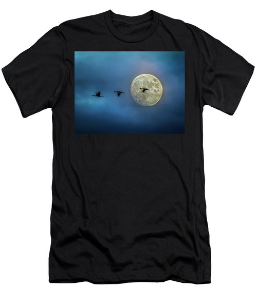 Sandhill Cranes With Full Moon Men's T-Shirt (Athletic Fit)