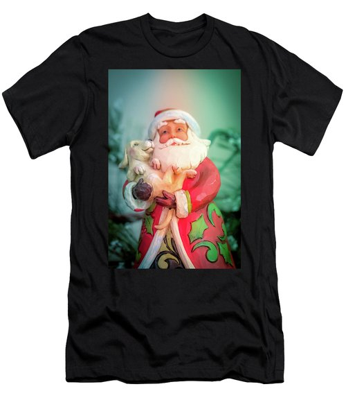 Santa And Lab Pup Men's T-Shirt (Athletic Fit)