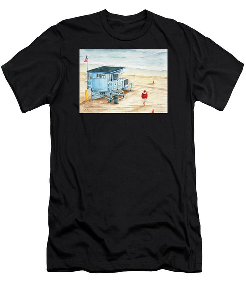 Santa Is On The Beach Men's T-Shirt (Athletic Fit)