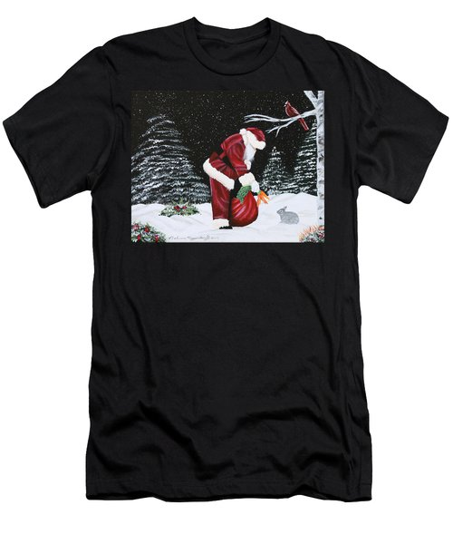 Santa Loves All Creatures Men's T-Shirt (Athletic Fit)
