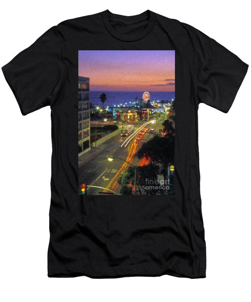 Men's T-Shirt (Slim Fit) featuring the photograph Santa Monica Ca Pacific Park Pier  Sunset by David Zanzinger
