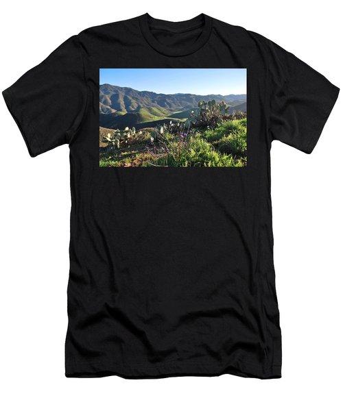 Santa Monica Mountains - Cactus Hillside View Men's T-Shirt (Athletic Fit)