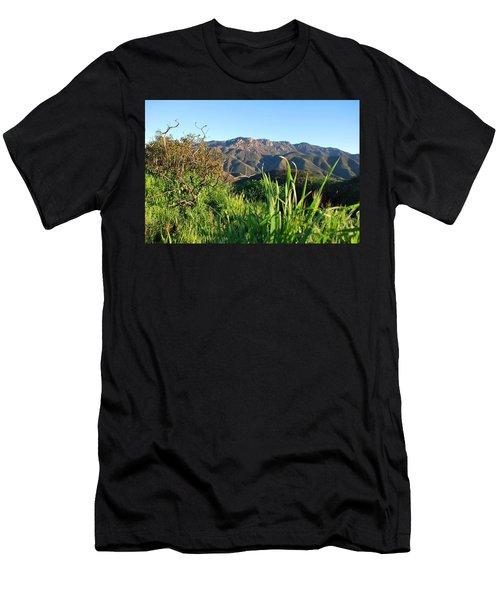 Santa Monica Mountains Green Landscape Men's T-Shirt (Athletic Fit)