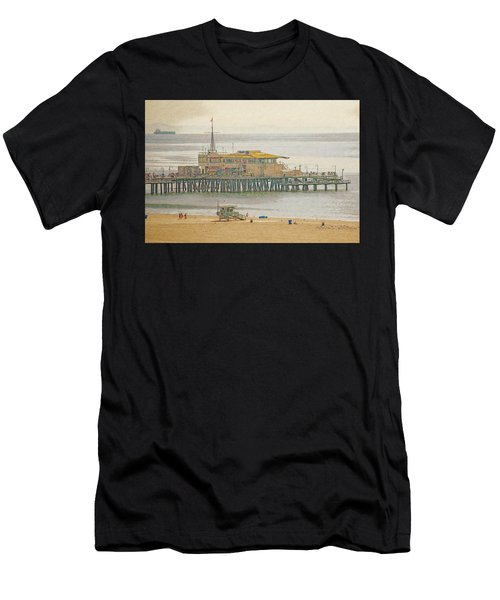 Men's T-Shirt (Athletic Fit) featuring the digital art Santa Monica Pier by Anthony Murphy