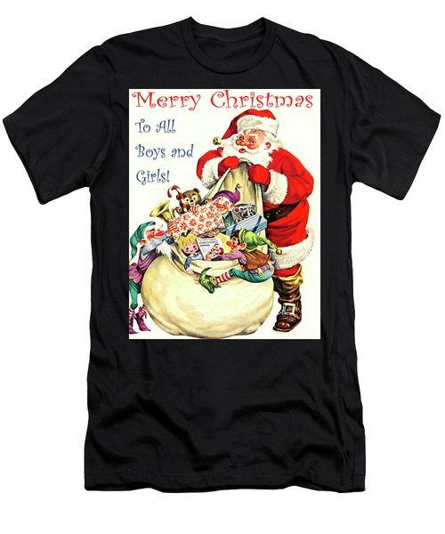 Santa With Bag Full Of Gifts Men's T-Shirt (Athletic Fit)