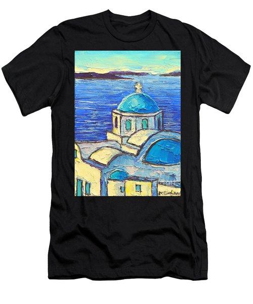Santorini  Blue Men's T-Shirt (Athletic Fit)