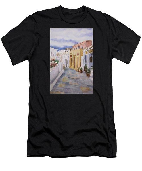 Santorini Cloudy Day Men's T-Shirt (Athletic Fit)