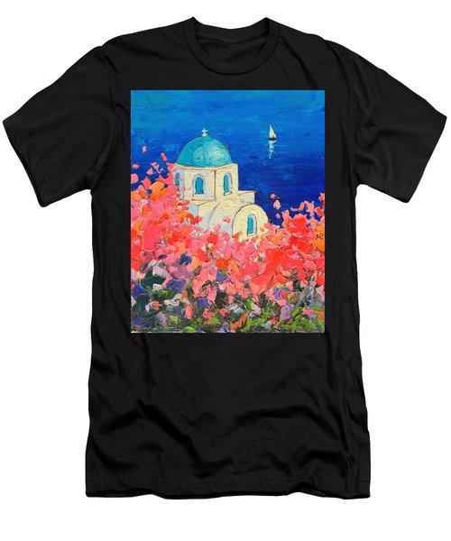 Santorini Impression - Full Bloom In Santorini Greece Men's T-Shirt (Athletic Fit)