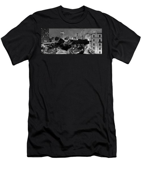 Sao Paulo Downtown At Night In Black And White - Correio Square Men's T-Shirt (Athletic Fit)