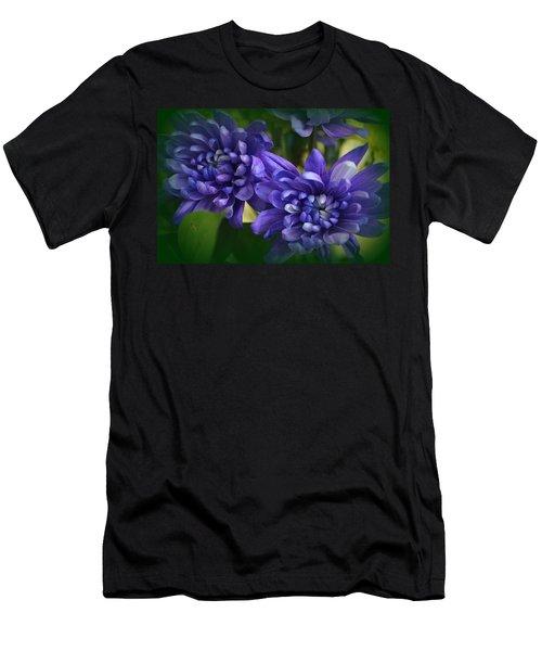 Sapphire Blue Chrysanthemums Men's T-Shirt (Athletic Fit)