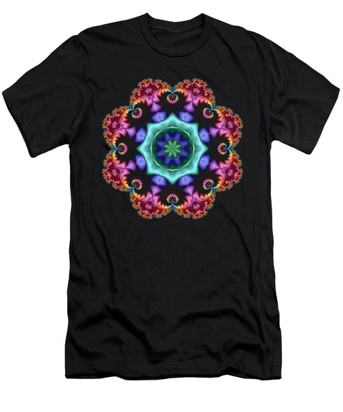 Satin Rainbow Fractal Flower I Men's T-Shirt (Athletic Fit)