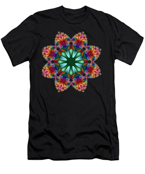 Satin Rainbow Fractal Flower II Men's T-Shirt (Athletic Fit)