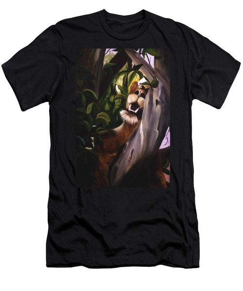 Men's T-Shirt (Slim Fit) featuring the painting Satisfied by Renate Nadi Wesley