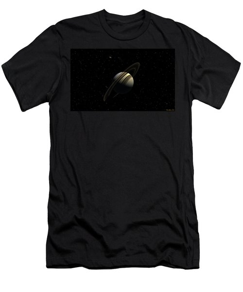 Saturn With Titan Men's T-Shirt (Athletic Fit)