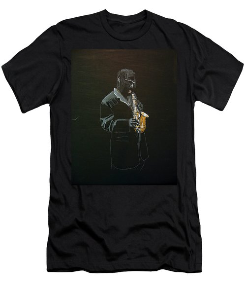 Men's T-Shirt (Athletic Fit) featuring the painting Sax Player by Richard Le Page