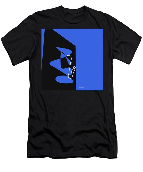 Saxophone In Blue Men's T-Shirt (Slim Fit) by David Bridburg