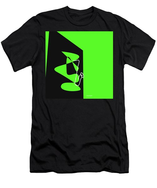 Saxophone In Green Men's T-Shirt (Slim Fit) by David Bridburg