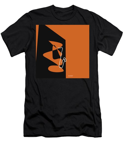 Saxophone In Orange Men's T-Shirt (Slim Fit) by David Bridburg