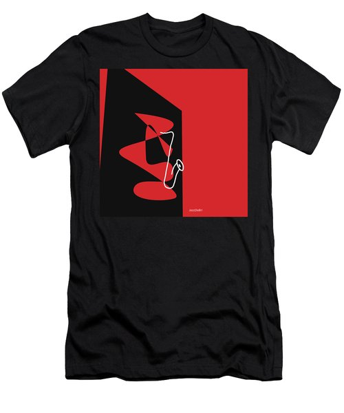 Saxophone In Red Men's T-Shirt (Athletic Fit)