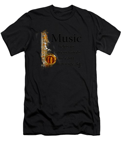 Saxophones Express Words Men's T-Shirt (Athletic Fit)