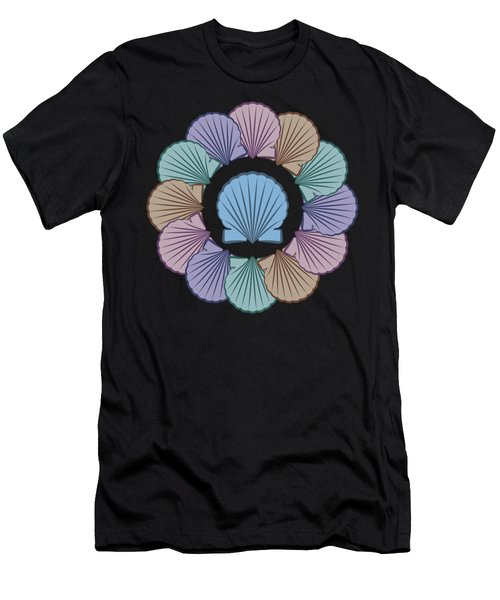 Scallop Shells Circle Multi Color Men's T-Shirt (Athletic Fit)