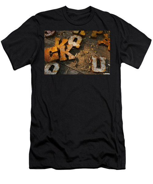 Men's T-Shirt (Slim Fit) featuring the photograph Scamble Letters by Randy Pollard