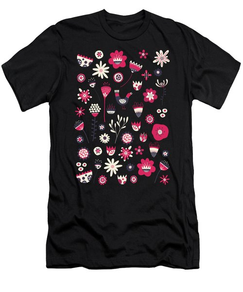 Scandi Birds And Flowers Yellow Men's T-Shirt (Athletic Fit)