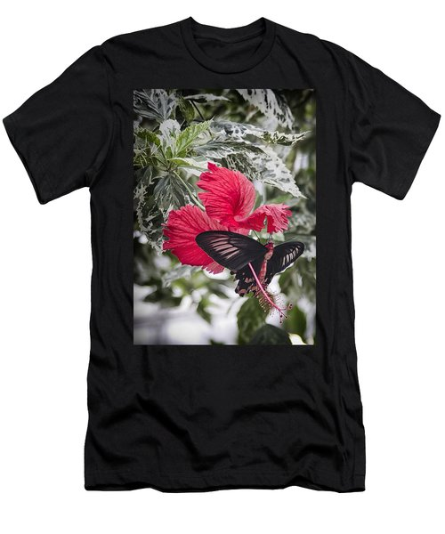 Scarlet Mormom Butterfly On Hibiscus Men's T-Shirt (Slim Fit) by Shirley Mitchell