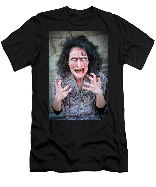Scary Angry Zombie Woman Men's T-Shirt (Athletic Fit)