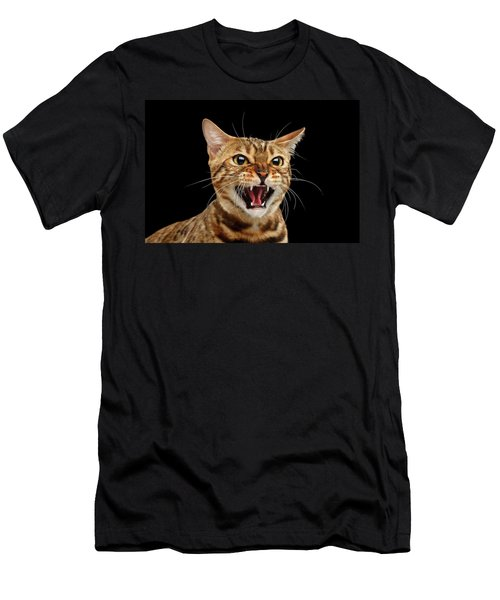 Scary Hissing Bengal Cat On Black Background Men's T-Shirt (Athletic Fit)