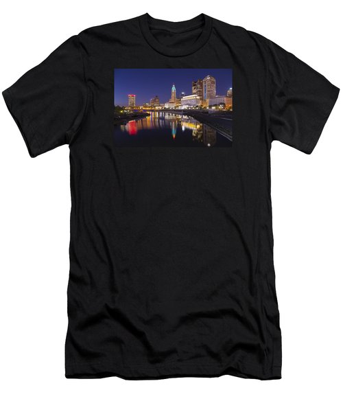 Men's T-Shirt (Slim Fit) featuring the photograph  Scioto Reflections - Columbus by Alan Raasch